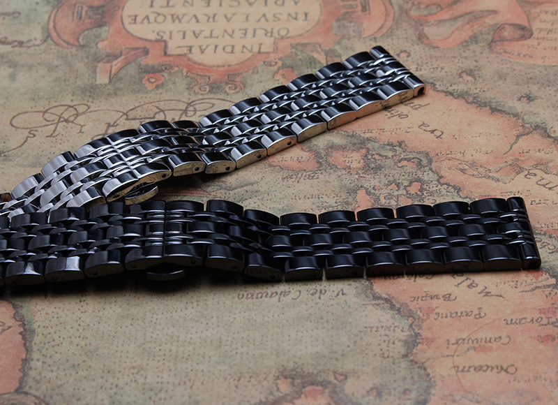 14mm 16mm 18mm 20mm 22mm 24mm Black Stainless Steel Watchband Metal Straps Straight End Bracelets polished butterfly buckle hot loose stainless steel silver shark mesh watchband bracelets special end safety buckle 18mm 20mm 22mm 24mm promotion men s straps