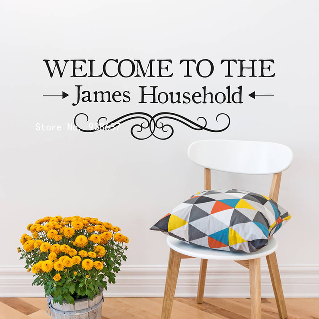 Welcome Personalised Vinyl Wall Sticker Home Decor Hallway - Personalised vinyl stickers