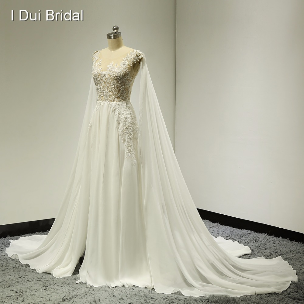 Illusion Silver Lace Wedding Dresses with Detachable Shoulder Scarf Split Leg Sexy A line Chiffon Factory
