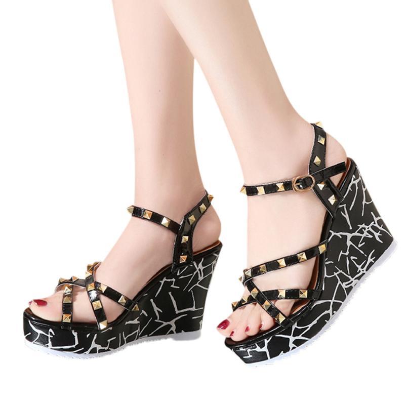 Summer Lady Fashion Wedge High Heels Sandals Elegant Rivets Women Heels Fashion Platform High Heels Wedge Sandals Female Shoes 1