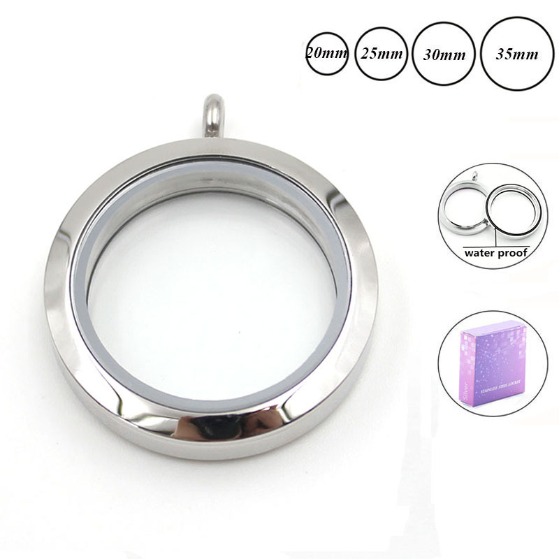 Wholesale waterproof floating charm locket necklace 20mm 25mm 30mm 316L Stainless Steel memory locket pendant for women