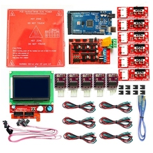 1.4 Kit With + Heatbed Mk2B 12864 Lcd Controller Drv8825 +Mechanical Switch +Cables For 3D Printer