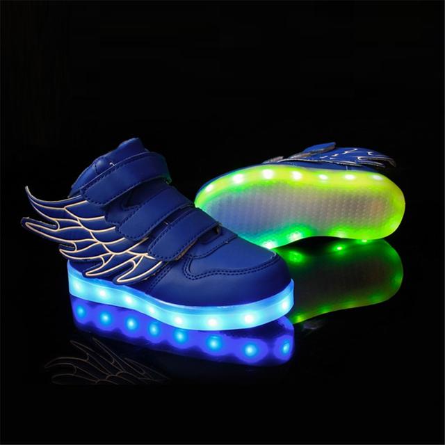 Eur 25-37 Sneakers Esportes Dos Miúdos 2016 Primavera Carregamento Luminous Iluminado Luzes LED Coloridas Crianças Calçados Esportivos AG04-3