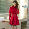 Sweaters 2017 Women Fashion Winter Sweater Dress Long Sleeve Pullovers Warm Dresses+Scarf Two-piece Separate Cloths Hot Sale1011