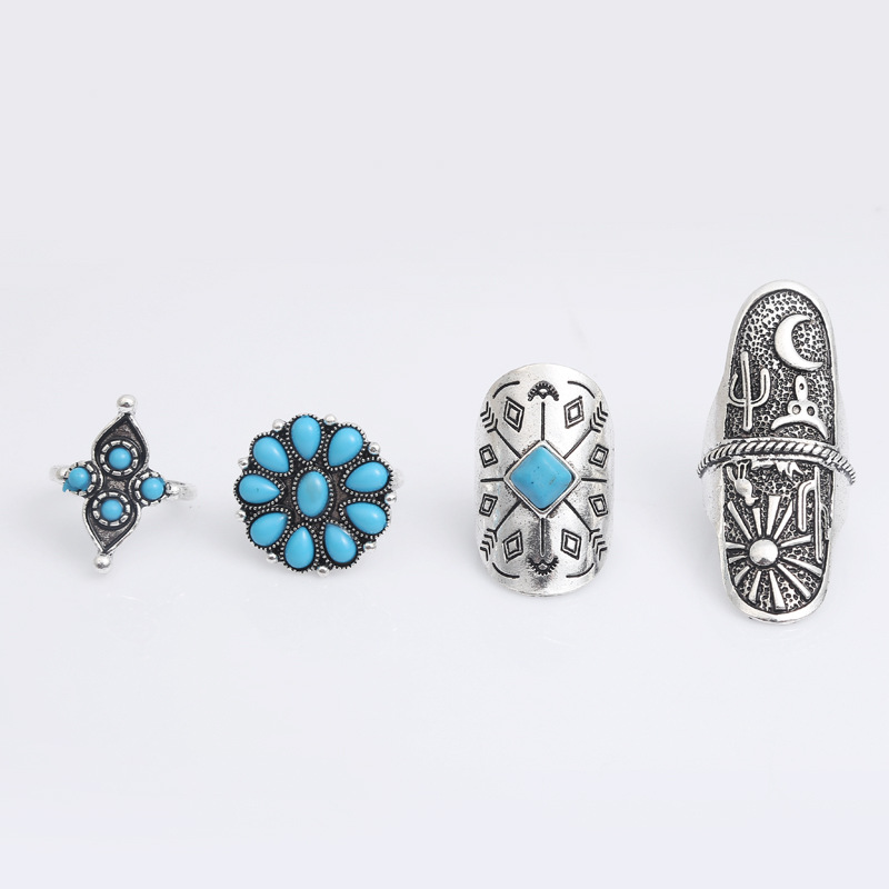 Oly2u 9pcs/Set Exaggeration Wide Knuckle Ring Classic Arrow Ring Sets Tribal Totem Midi Rings Adjustable Jewelly JZ267S