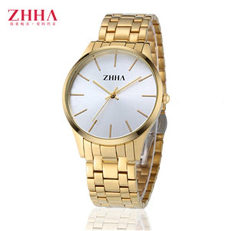 2016 Luxury Famous Brand ZHHA Lovers Top High Quality Gold Men s Quartz Watch Women Wristwatches
