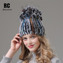 [Rancyword] Winter Hats For Women Real Rex Rabbit Fur Hat Flower Knitted Warm 2018 Casual Natural Fur Beanies For Girls RC1369 все цены