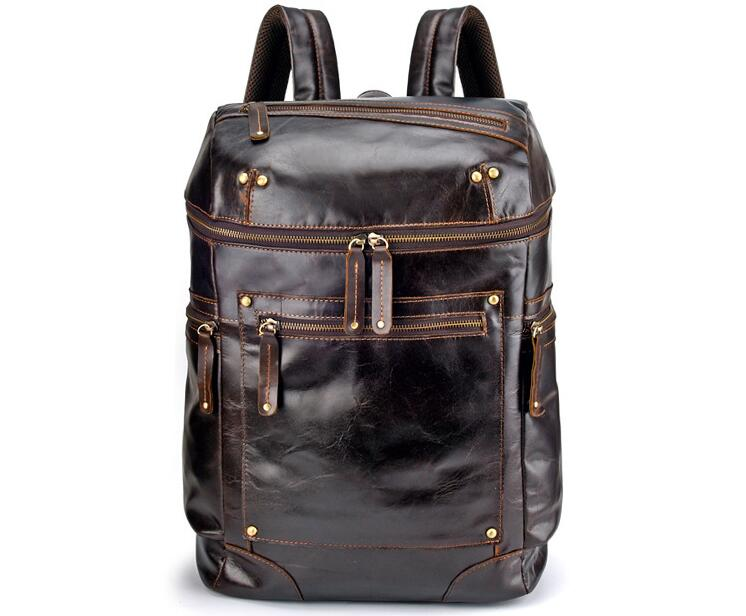 Wax leather large backpack outdoor casual bag for men high quality