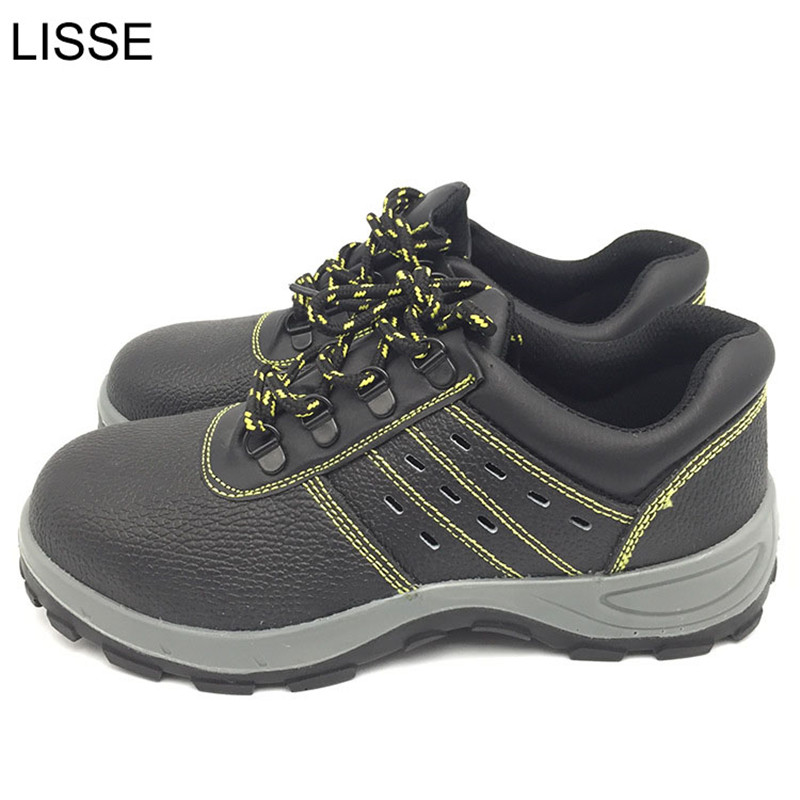 LISSE Men's fashion style black work boots steel toe safety shoes long breathable anti-static waterproof leather 36-47 цены онлайн