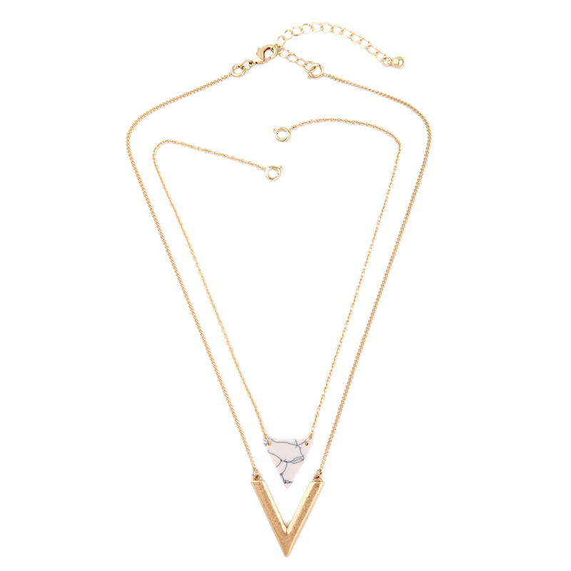 KISS ME Alloy Artificial Marble Triangle Necklace 2016 New Summer - Bisutería - foto 3