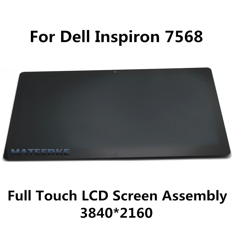 For Dell Inspiron 15 7568 2 in 1 3840x2160 4K 15.6 Laptop Touch Digitizer LCD Screen Display Panel Assembly 15 6 4k ips led lcd screen with touch glass digitizer for dell inspiron 15 7559 wy3n4 4k