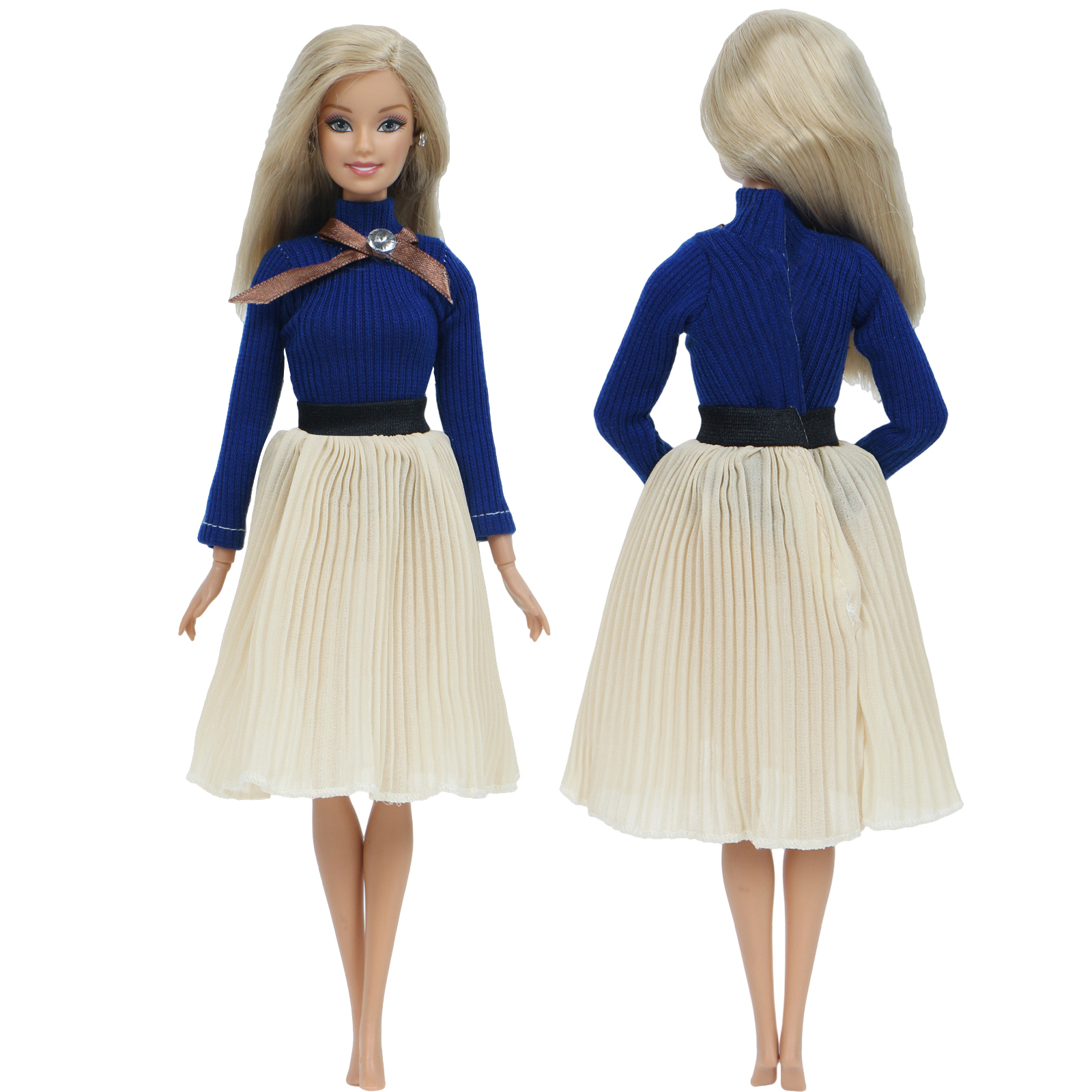 Fashion Handmade Doll Dress For Barbie Doll Blue Dating Wear Long Sleeves Blouse Pleated Skirt Outfit Doll Clothes Accessories
