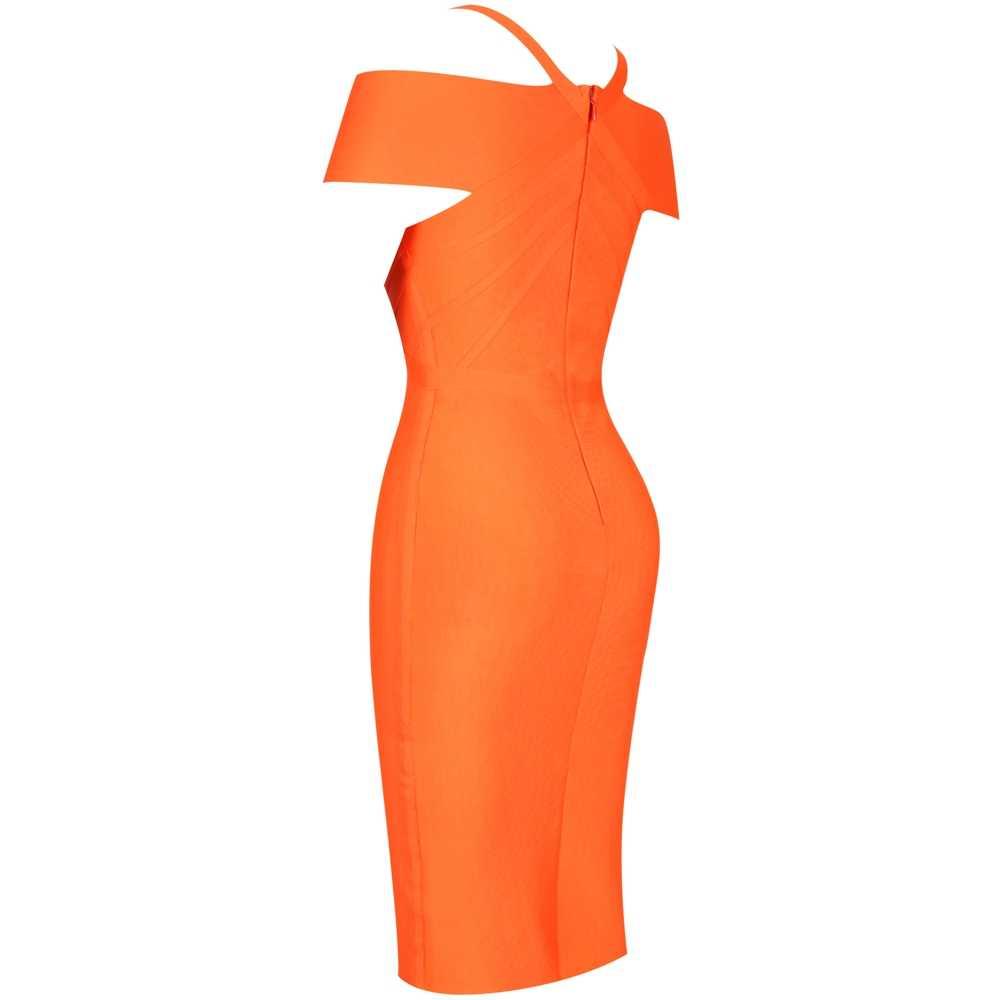 Женское Бандажное платье с оленем 2019 Новое поступление Элегантное летнее бандаж голые плечи Платье оранжевое сексуальное облегающее платье Вечерние Клубные платья