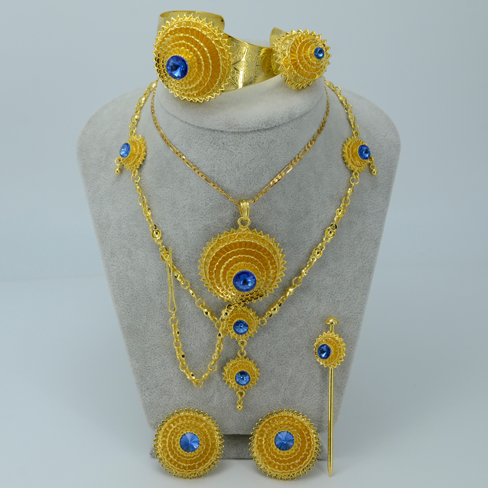 Ethiopian Gold Color Jewelry Set Blue Stone Habesha Bride Wedding Eritrea Forehead Chain Africa Women Fashion #J0752Ethiopian Gold Color Jewelry Set Blue Stone Habesha Bride Wedding Eritrea Forehead Chain Africa Women Fashion #J0752