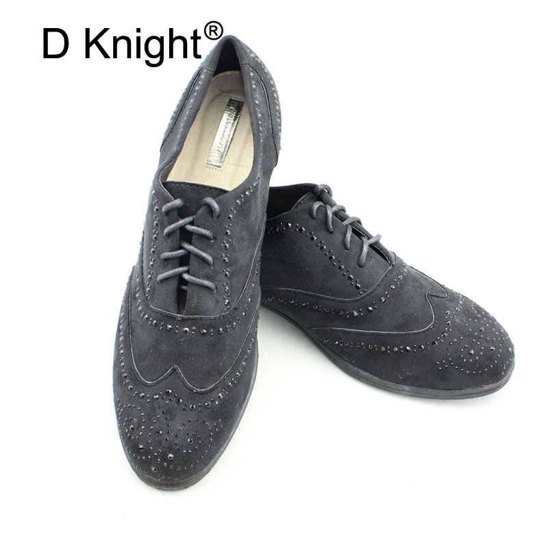 Retro Oxford Shoes Women British Style Bullock Lace-up Rhinestone Women Oxfords Flat Shoes Round Toe Lady Brogue Shoes Big Size size 34 48 spring autumn lace up flat shoes women classic solid color round toe oxfords shoes high quality retro casual shoes