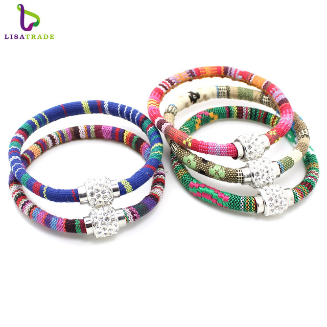 Handmade Multicolor Knitted Ribbon Bracelets Bangles Vintage Charm Cloth Bracelet For Women Fashion Jewelry