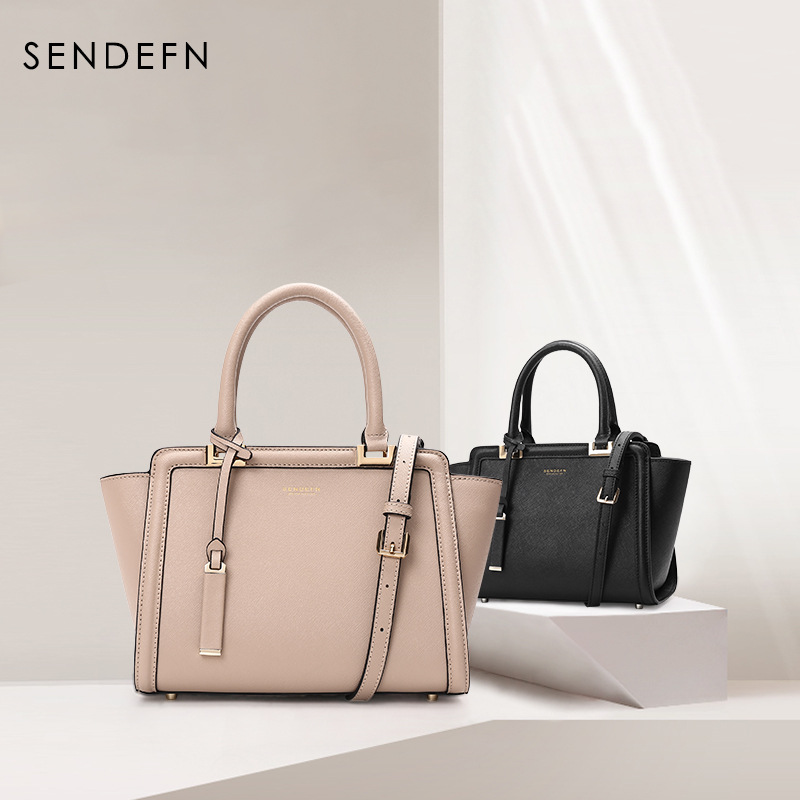 Sendefn Classical Women's Shoulder Bag Quality Split Leather Black Fashion Handbag Zipper Women Bag Tote Women Leather Handbags
