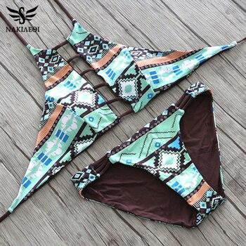 NAKIAEOI 2019 Sexy High Neck Bikini Women Swimsuit Swimwear Cut Out Retro Push Up Bikini Set Printed Summer Beach Bathing Suit 4
