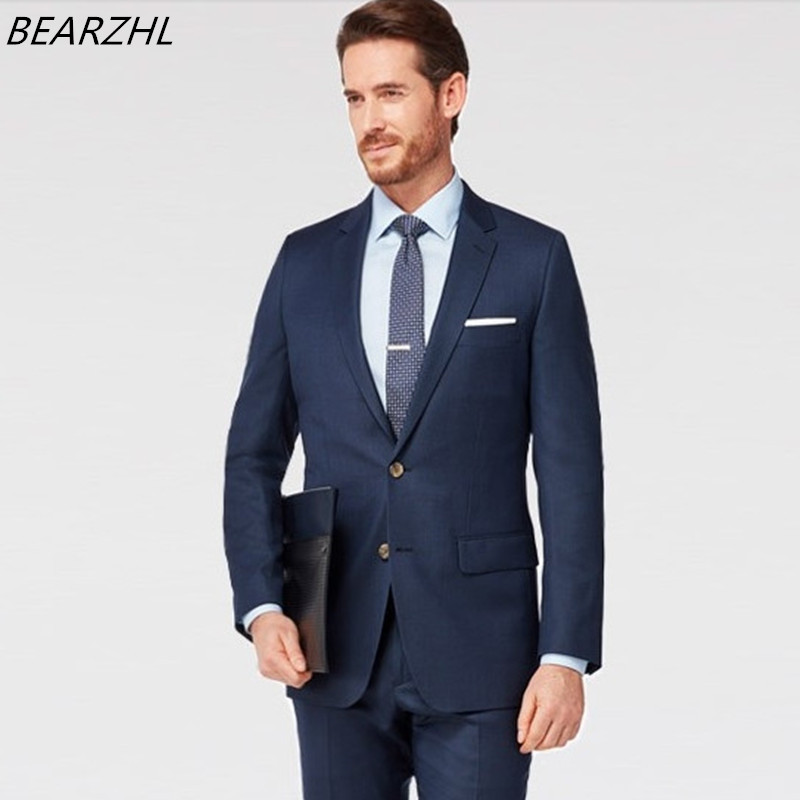 Mens Summer Wedding Suits Blue Groom Suit Two Button