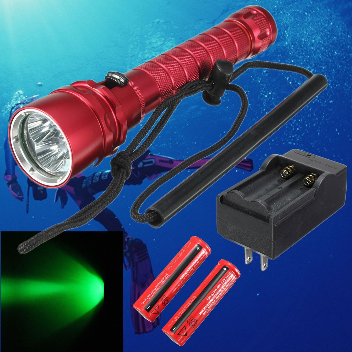 Elfeland Waterproof Aluminum 2500lm 3 x XML XPE LED Light Lamp Flashlight UnderwaterTo 150M Camping Diving Torch with strap