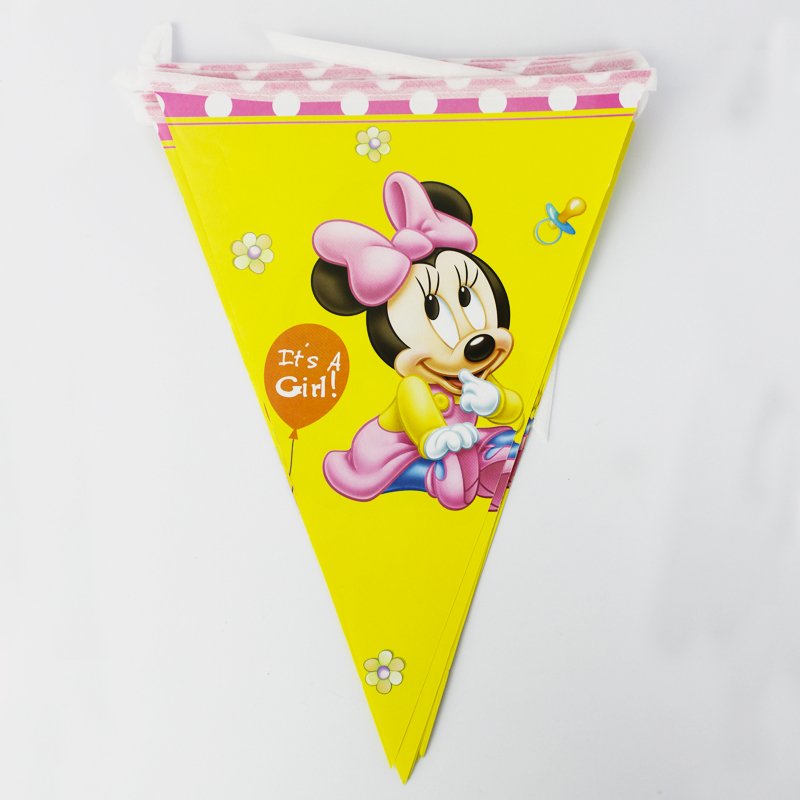 Birthday Party Decoration Kids Supplies Favors New Minnie Mouse Theme Paper Pennant Banner 12 Flags/Pack Length 280cm