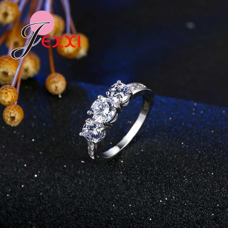 Mode Braut Schmuck Frau 925 Sterling Silber Hochzeit Band Klar Kristall Dame Vorschlagen Engagement Ringe Geburtstag Geschenk