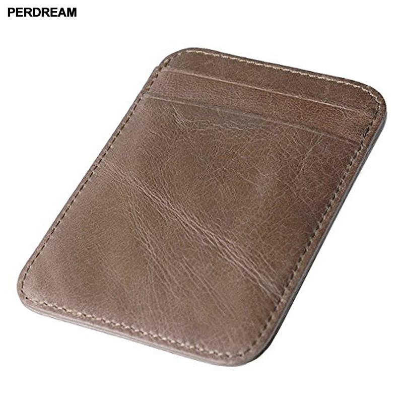PERDREAM Man and Woman natural Leather Card Holder Credit Card Holder 0.3mm Id Card Hold ...