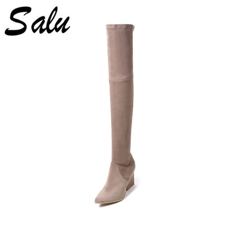 Salu New genuine leather high boots shoes woman winter sexy high heels round toe black 35-41 size bassiriana new 2017 winter high boots shoes woman high heels round toe zipper genuine leather and suede black 35 40 size