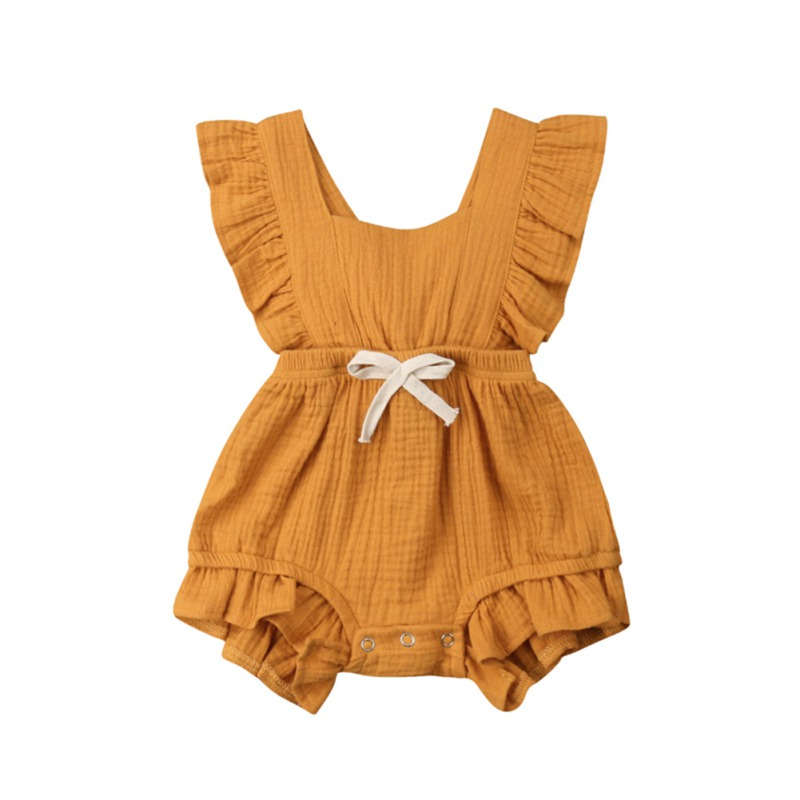 Summer Newborn Baby Girls Flare Sleeve Backless   Rompers   Solid Pattern Cotton One-Piece   Romper   with Bowknot
