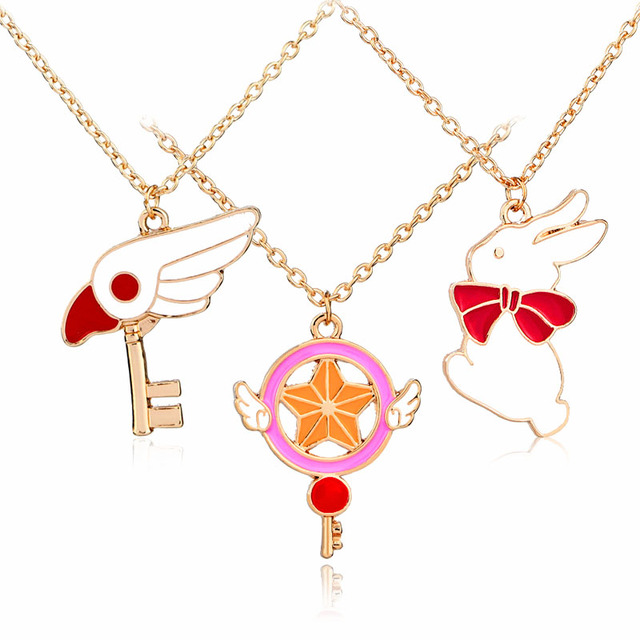 Japanese harajuku style anime enamel pendant necklace jewelry japanese harajuku style anime enamel pendant necklace jewelry ostrich firebird head rabbit card captor magic stick aloadofball Images