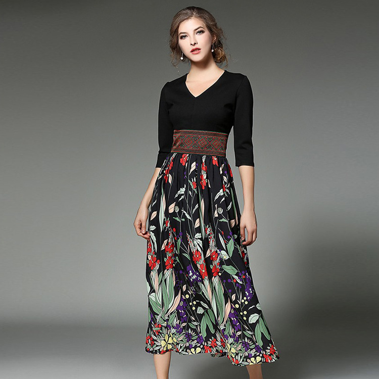Ethnic Style Printing High-end Quality 2018 Autumn New Women's Wear Three Quarter Sleeve V-Neck Sculpture Chiffon Dresses S-XL
