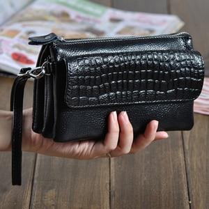 Image 1 - Genuine Leather Clutch Women Long Wallets Women Money Purse Large Capacity Clutch Coin Purse Ladies Wallet Phone Purse Cartera