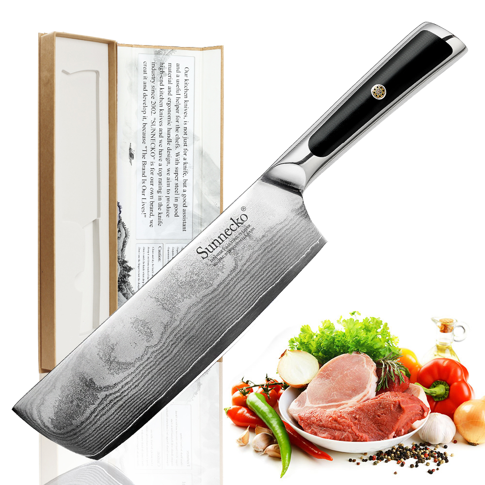 """Sunnecko 7"""" Damascus Cleaver Knife Japanese VG10 Core Steel Blade Kitchen Knives Razor Sharp Vegetable Meat Cutter G10 Handle-in Kitchen Knives from Home & Garden    1"""
