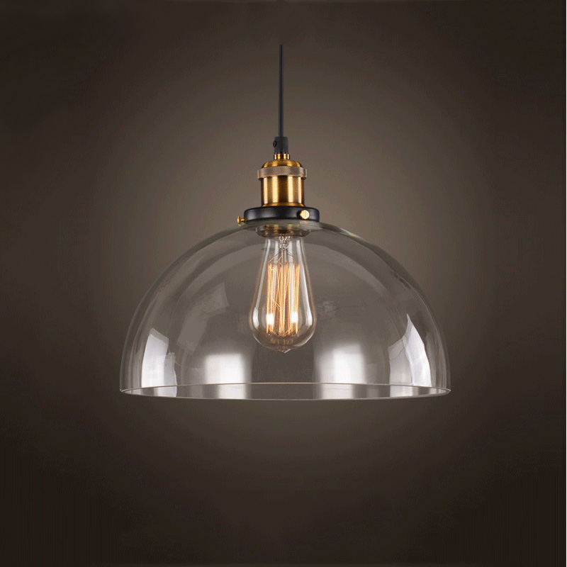Vintage Amber Glass Pendant Light Retro Clear Glass Indoor Lighting Fixture Glass Pendant Lamp Decorative Glass Restaurant Cafe