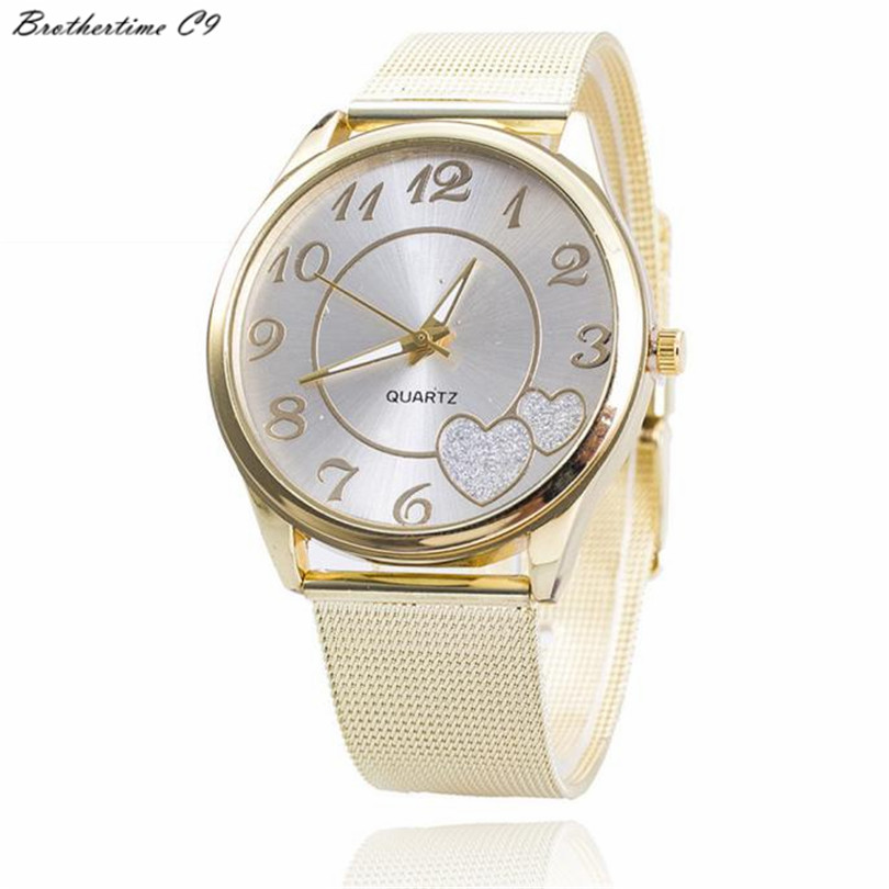 Brothertime C9 Fashion Golden Watch Women Ladies Alloy Gold Mesh Strap 4cm Dial Double Lover Heart Qaruzt Watch #-090 Free Ship