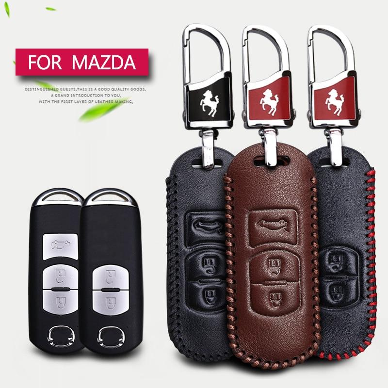 Cubierta elegante de la caja de la llave del coche del cuero auténtico para Mazda 2 3 6 CX5 CX-5 CX-7 CX-3 CX7 MX5 RX8 323 626 2017 2018 Llavero Car Styling