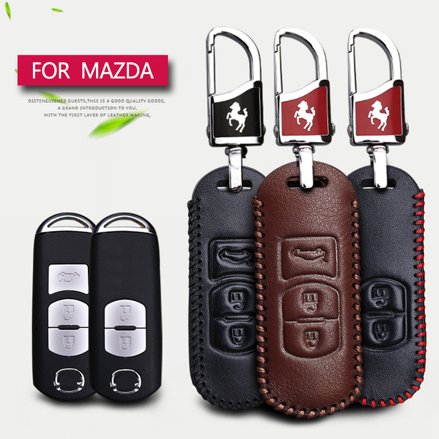 genuine leather car smart key case cover for mazda 2 3 6 cx5 cx 5 cxgenuine leather car smart key case cover for mazda 2 3 6 cx5 cx 5 cx 7 cx 3 cx7 mx5 rx8 323 626 2017 2018 key ring car styling