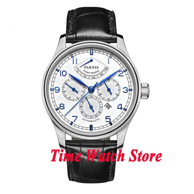 42mm parnis white dial Multifunction Sapphire Glass black leather strap 26 jewels miyota 9100 Automatic mens Watch 537 parnis black dial sapphire glass 26 jewels miyota automatic 9100 mens watch p664