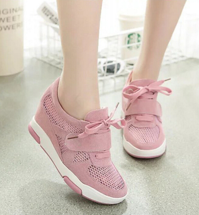 2017 mujeres del verano del resorte de malla cuñas zapatos de tacón Alto de las