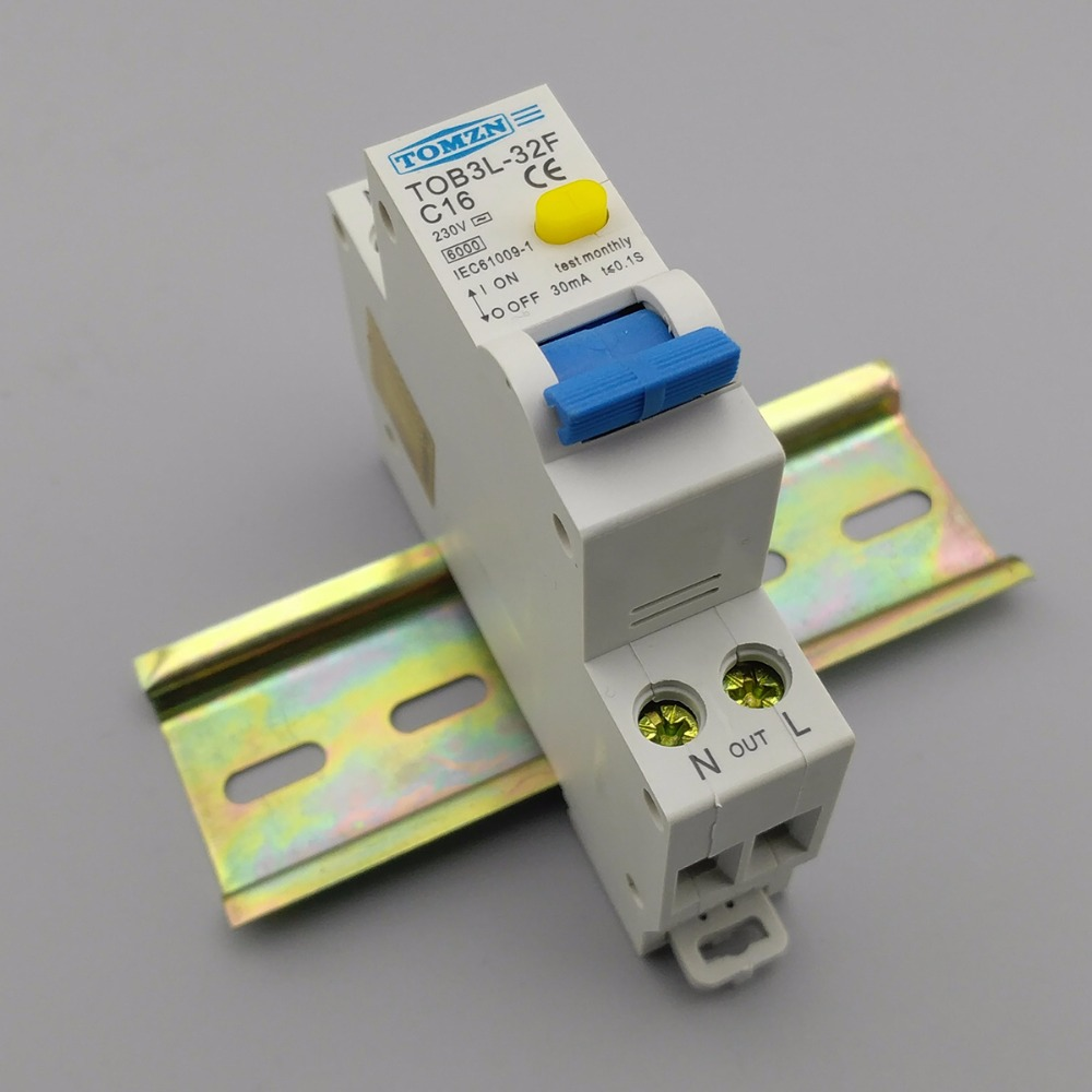 Marvelous 18MM RCBO 16A 1P+N 6KA Residual Current Differential Automatic Circuit  Breaker With Over