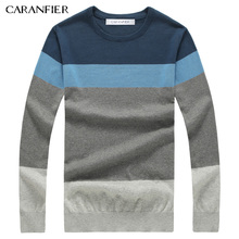 CARANFIER 2017 Autumn Fashion Men Sweater Brand Cotton Casual Sweater O-Neck Striped Slim Fit Knitting Or Pullovers Men Pullover