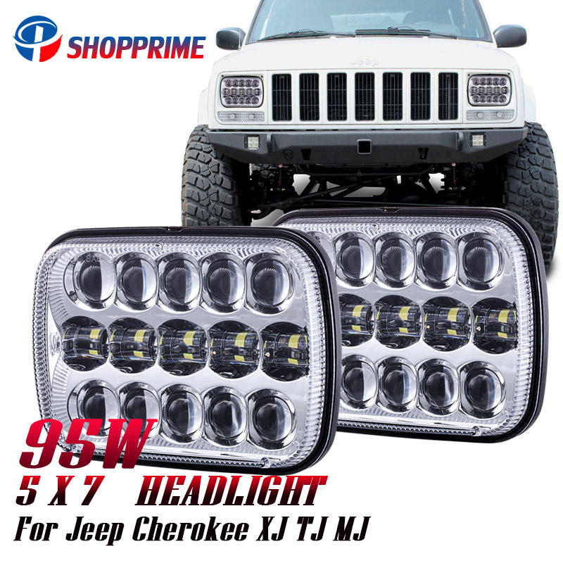 купить 2018 new 5x7 inch 7'' Square headlight 95W Hi/Lo Beam for 1986-1995 for Jeep Wrangler YJ and 1984-2001 Jeep Cherokee XJ по цене 6459.76 рублей