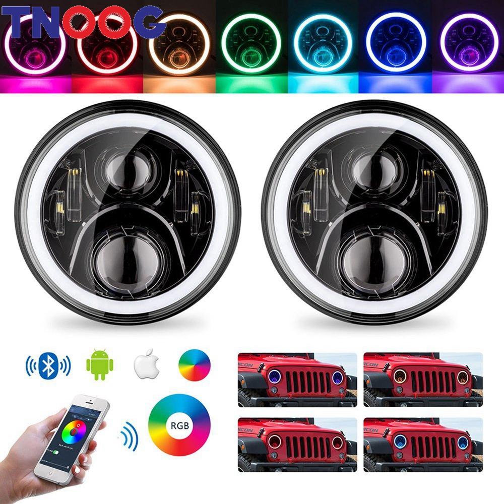 TNOOG RGB Halo LED Headlight For Lada 4x4 urban 7inch LED Headlamp Assembly with RGB Halo Ring For UAZ Hunter Land Rover 7 Led led halo projctor headlight for