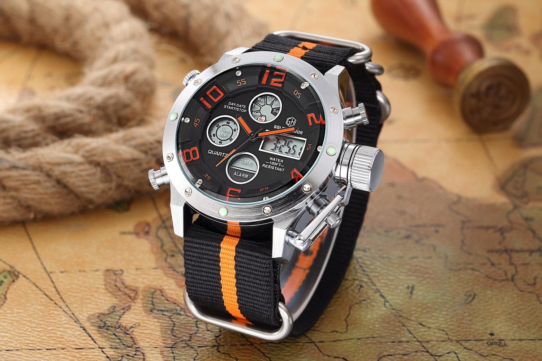 2018 Fashion GOLDENHOUR Digital Watch Men Canvas NATO Strap Dual Time  Malfunction Clock Top Brand Luxury LED Quartz Wristwatch