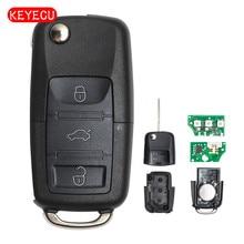 Keyecu Flip Remote Car Key Fob 434MHz ID48 for VW Volkswagen Fox Gol Sharan Saveiro 2010+ 6QE 959 753