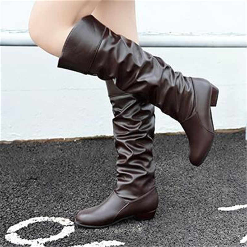 2020 Spring autumn long boots NEW style women flat low heel over the knee boots female Slip-onThigh High Boots black white brown