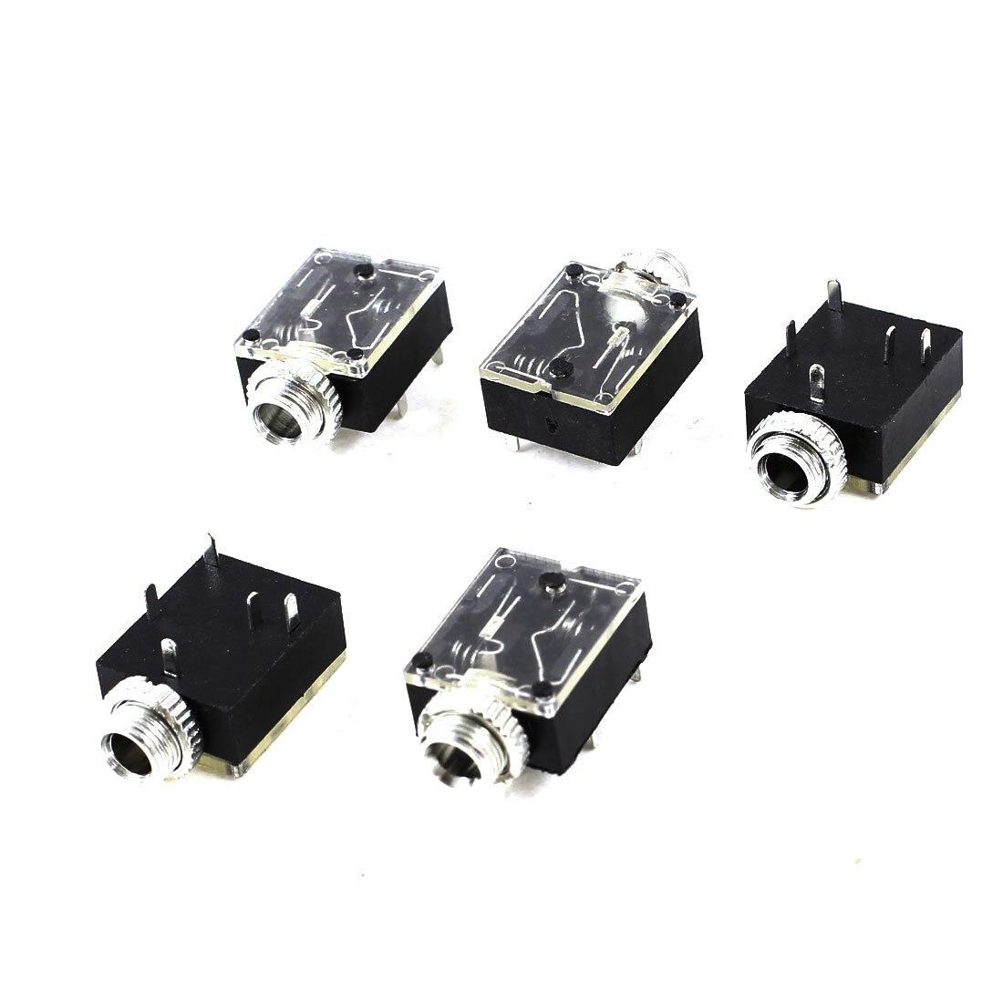 5 Pcs 5 Pin 3.5mm Audio Mono Jack Socket PCB Panel Mount for Headphone