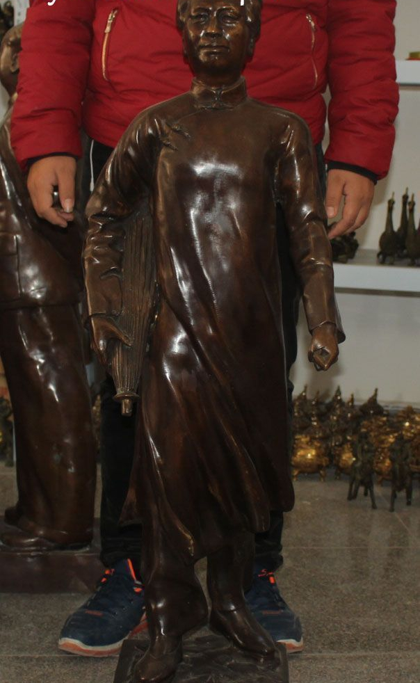 FREE SHIPPING 111cm Huge Bronze Great Leader Young Mao Zedong Chairman Hold Umbrella Statue