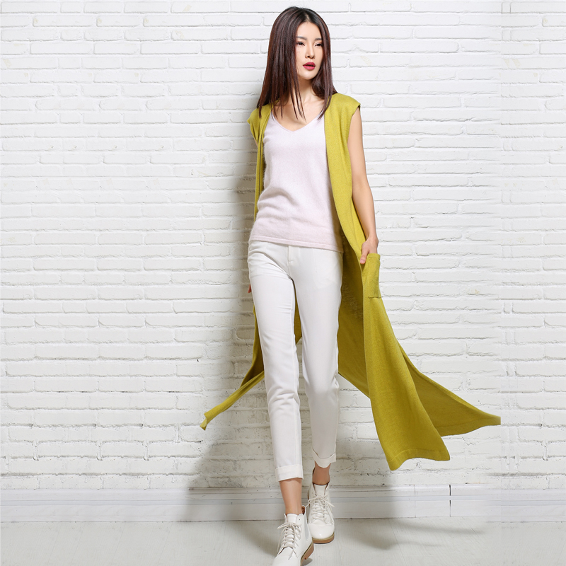 adohon 2018 womens winter Cashmere sweaters and Long Cardigan women High Quality Warm Female thickening Sleeveless Solid