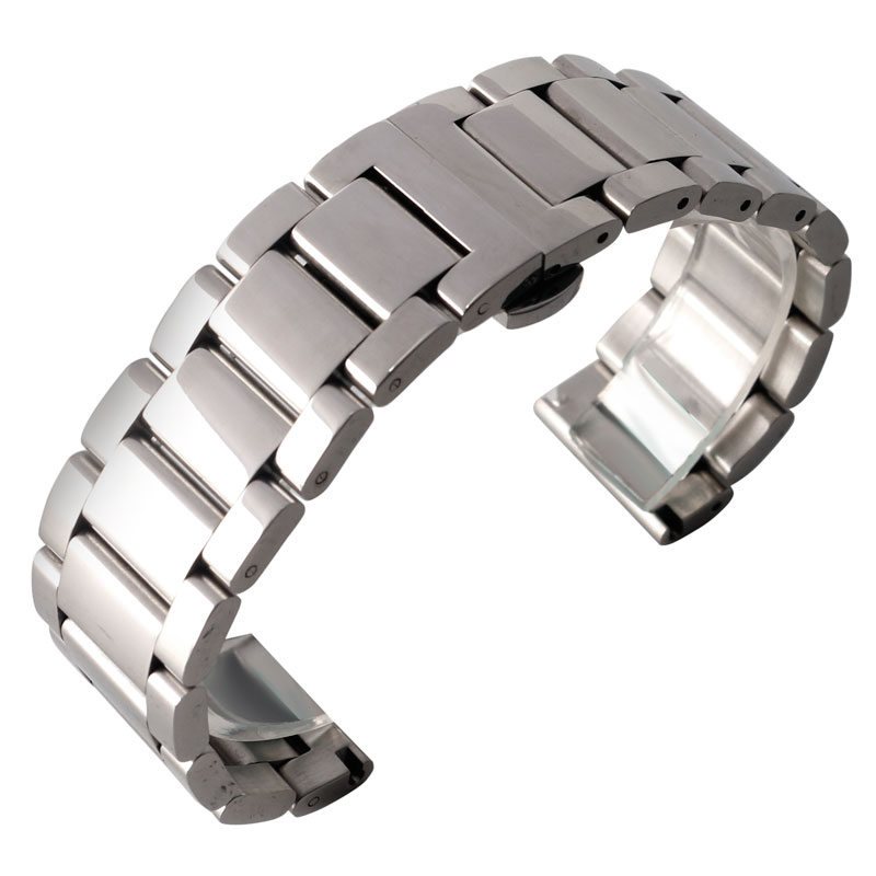 18mm 20mm 22mm Silver Firm Steel Watchband Push Button Bracelet Watch Strap for Men Women with Deployment Buckle + 2 Spring Bars 1pc silver stainless steel men wrist watch bracelet strap 16 22mm watchbands with push button buckle clasp men watch accessorie